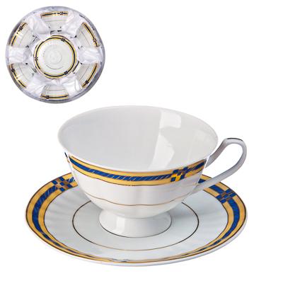 821-072 Классика Набор чайный 12пр., 250мл, с синей каемкой, тнк.фрф, подар.упак.