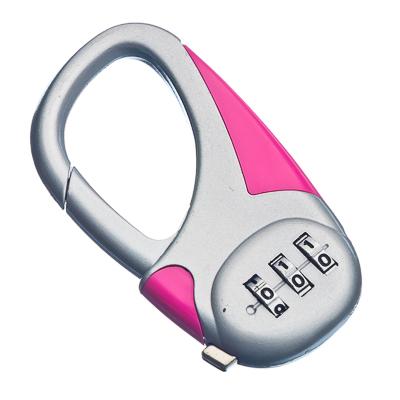 468-060 Карабин с кодовым замком 8см, металл, розовый