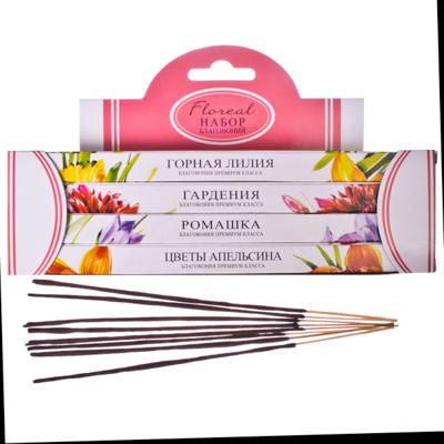 536-149 Набор благовоний 4хгран(4бл*8пал) Floreal (горная лилия, ромашка, цветы апельсина, гардения)