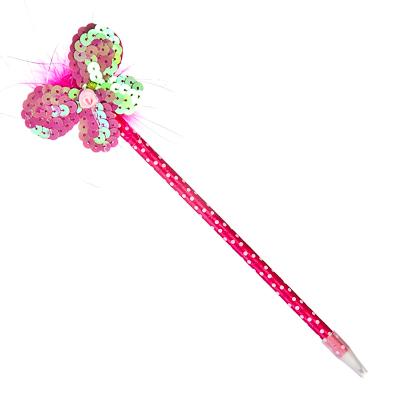 """513-342 Ручка """"Магическая палочка"""", шариковая, с мягким украшением, с пайетками, 26см, в асс-те, ПВХ"""