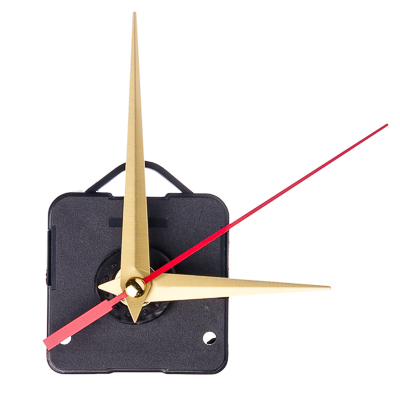 581-191 Механизм часовой с прямыми золотыми стрелками и подвесом, пластмасса, металл