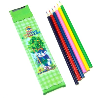 102-091 Набор цветных карандашей, 6 цветов, 20х4,5см, дерево