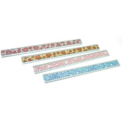 102-097 Линейка металлическая 30см диз.2