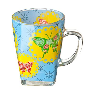 """879-002 VETTA Кружка стеклянная, 275мл, """"Бабочки"""""""