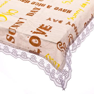 """479-078 VETTA Скатерть виниловая тиснёная с ажурной каймой, 152x228см, """"Word"""" 0304-1, Дизайн GC"""