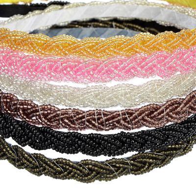 """323-029 Ободок для волос, пластик, металл, 0,7 см, 6 цветов, """"Бисерное плетение"""""""