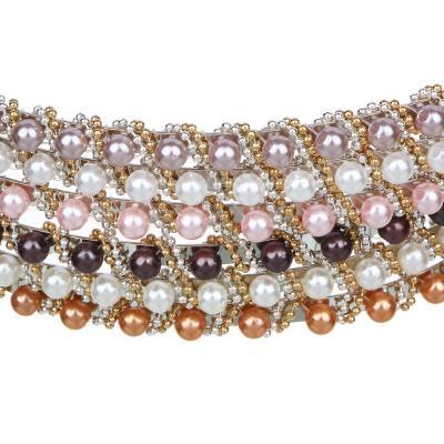 """323-030 Ободок для волос, пластик, металл, 0,5 см, 6 цветов, """"Бисерный узор"""""""