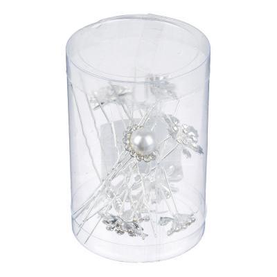 """323-041 Шпилька для волос, металл, стекло, 7 см, 10 дизайнов, """"Каменный цветок"""""""