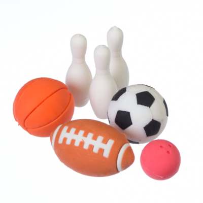 """513-407 Набор ластиков """"Спорт"""", 7 шт, размер уп-ки 13,8х8,5см, размер изделий 2,2х2,2см"""