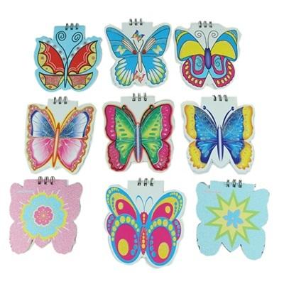 """524-003 Блокнот детский 20 л., 10х10см, """"Бабочки"""", 10 дизайнов"""