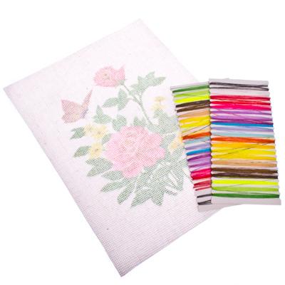 """308-093 Набор для вышивки 20x28см """"Цветы и бабочки"""" (канва, нитки мулине, игла)"""