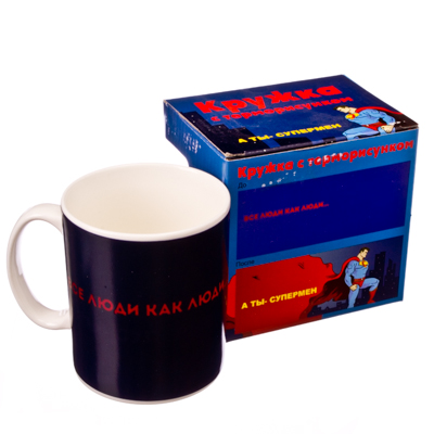 "806-631 FARFALLE Кружка с терморисунком, 320мл, фрф, подар.уп., ""Супермен"""