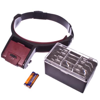 309-011 Лупа-лампа бинокулярная с креплением на голову, регулир размер, 2хААА, красный, пластик