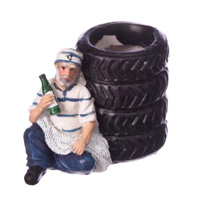 """526-028 Подставка под ручки """"Моряк в порту"""", 6,5х9см, полистоун"""