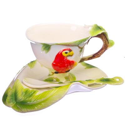 """802-213 Набор чайный 3 пр. (чашка 160мл, блюдце, ложка), фрф, """"Экзотический попугай"""""""