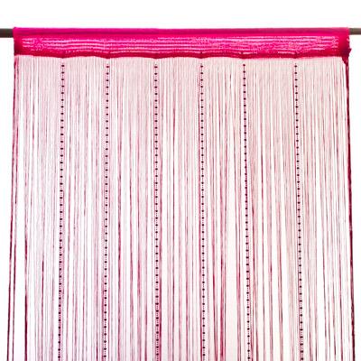 491-188 Занавеска нитяная 1x2м, с пластиковым декором, розовая