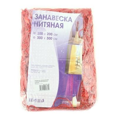 491-189 Занавеска нитяная 1x2м, с пластиковым декором, красная
