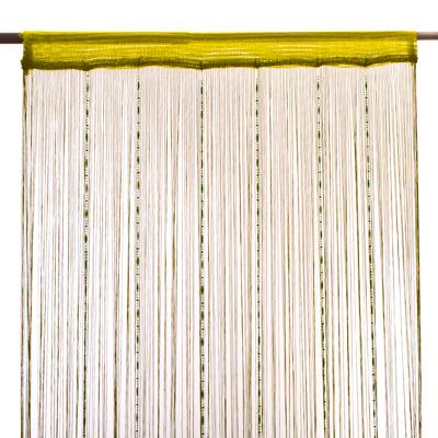 491-191 Занавеска нитяная 1x2м, с пластиковым декором, фисташковая