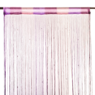 491-193 Занавеска нитяная межкомнатная с бусами, полиэстер, 1х2м, 5 цветов