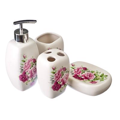 """463-385 Набор для ванной 4 предмета, керамика, """"Розы"""""""