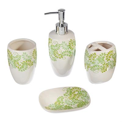 """463-396 Набор для ванной 4 пр., керамика, """"Зелень"""""""