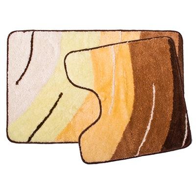 """462-388 VETTA Набор ковриков 2шт для ванной и туалета, акрил, 50x80см + 50x50см, """"Графика"""", жёлтый"""