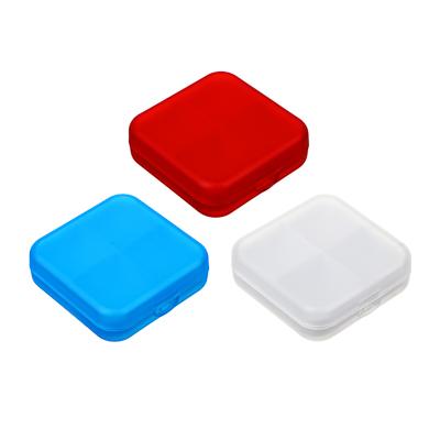 444-219 Бокс для таблеток, пластик, 4 ячейки, 6,5х6,5см, 3 цвета