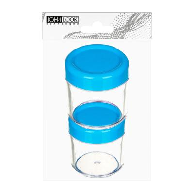 305-148 ЮниLook Набор для крема 3 пр. (контейнер 20мл -2шт, ложечка), пластик, 3-4 цвета, МС-01