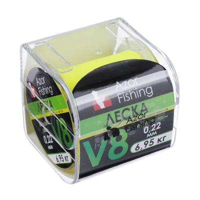 338-924 AZOR FISHING Леска, нейлон, V8, 0,22 мм, 300м, флуоресцент-желтая, разрывная нагрузка 6,95 кг