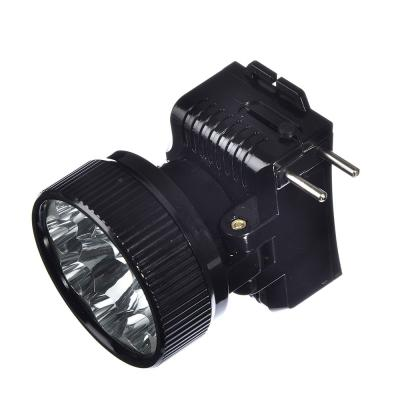 328-047 ЧИНГИСХАН Фонарь налобный аккумуляторный 8 ярк.+ 0,5 Вт LED, вилка 220В, 8,8x7,4х8,5см