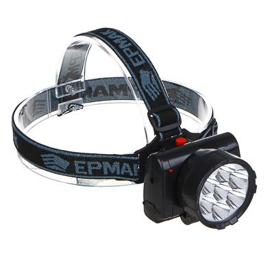 328-048 ЧИНГИСХАН Фонарь налобный аккумуляторный 7 ярк. LED, шнур 220В, 8,8х7х7,6см