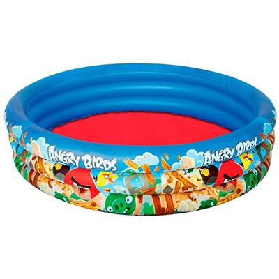 332-009 BESTWAY Бассейн детский надувной, бортик 3 кольца, 152x30см, 282л, Angry Birds, 96108B