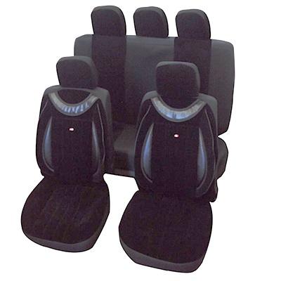 768-262 NEW GALAXY Чехлы авто универ. эргоном, 11пр,микровельвет с фактур. печатью, поролон 2мм, черные 6288