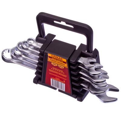 736-025 ЕРМАК Набор ключей рожк-нак., 6пр. евро холдер, мат. CRV ребристая панель холодный штамп 8-17мм