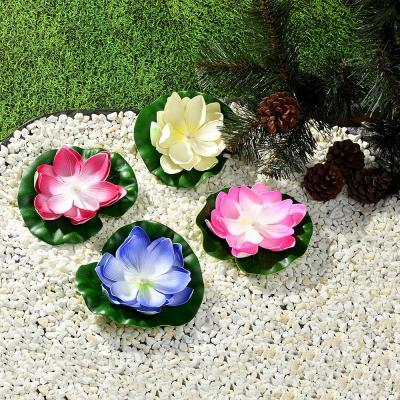 171-010 Лилия декоративная с подсветкой для пруда,батарея CR 2032 3V, полиэстер, 17см, 12 цветов