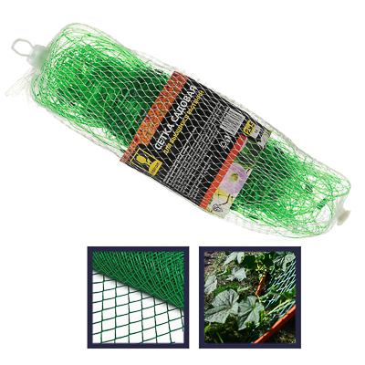 165-008 Сетка садовая для вьющихся растений, пластик, 2х5 м, зеленая, размер ячейки 15х15 см, 27х10х10, INBL
