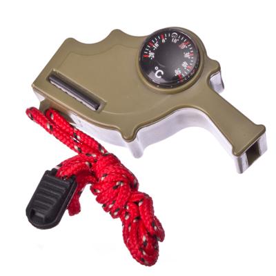 333-329 Прибор многофункциональный (термометр + компас + огниво) пластик, 7,5х3,7см, микс