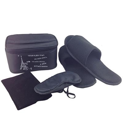 343-080 Набор дорожный 4 пр. (тапочки, маска для сна, подушка дорожная) в сумке 18x12x9см