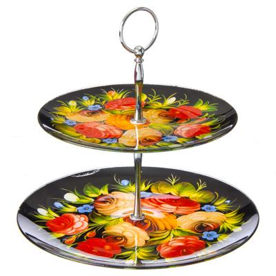 877-029 VETTA Жостово Ваза для фруктов стеклянная двухъярусная, 254мм+200мм, S301008/2
