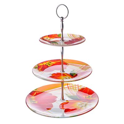 877-039 VETTA Моника Ваза для фруктов стеклянная трехъярусная