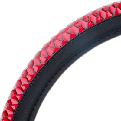 708-026 NEW GALAXY Оплетка руля, экокожа, черный, тиснение темно-красный, разм. (М)