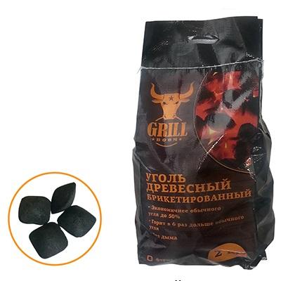 101-005 GRILLBOOM Уголь древесный брикетированный, 2 кг