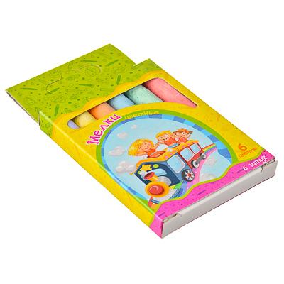 526-215 Набор мелков 6шт для рисования цилиндр, цветные 8х1см, 6 цветов