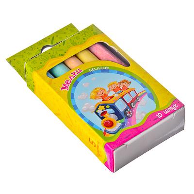 526-216 Набор мелков 10шт для рисования цилиндр, цветные, 8х1см, 5 цветов