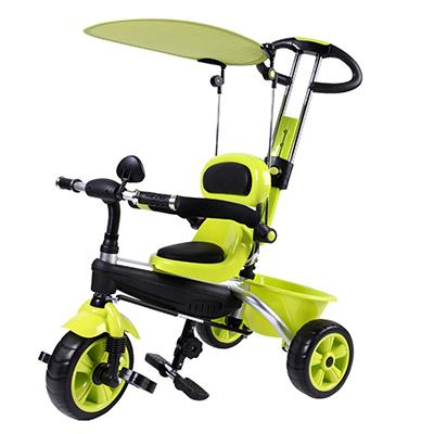 195-013 Велосипед детский трехколесный, с ремнями безопасности, тентом, толкателем, корзиной, зеленый