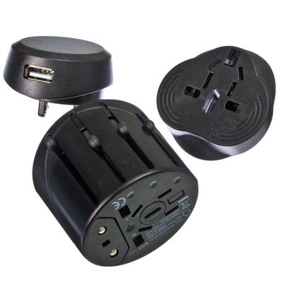 907-054 Переходник-трансформер сетевой универсальный, пластик, черный, USB-разъём 1А 5В, DC-A3, 10А