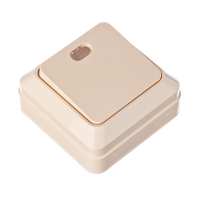 905-014 FORZA Simple Выключатель одноклавишный с подсветкой бежевый, накладной 10А, 250В, пластик ABS