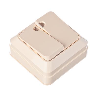 905-015 FORZA Simple Выключатель двухклавишный с подсветкой бежевый, накладной 10А, 250В, пластик ABS