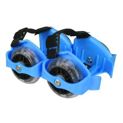 129-076 Ролики на пятку с подсветкой, база пластик раздв, колеса ПВХ, 7,2 см, 3LED, до 80 кг, 6+, зеленый, S