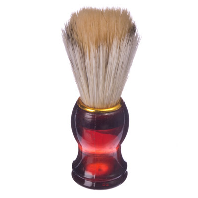 346-218 Помазок для бритья, пластиковая основа, золотой ободок, смешанный ворс, 10x3см, 6 цветов